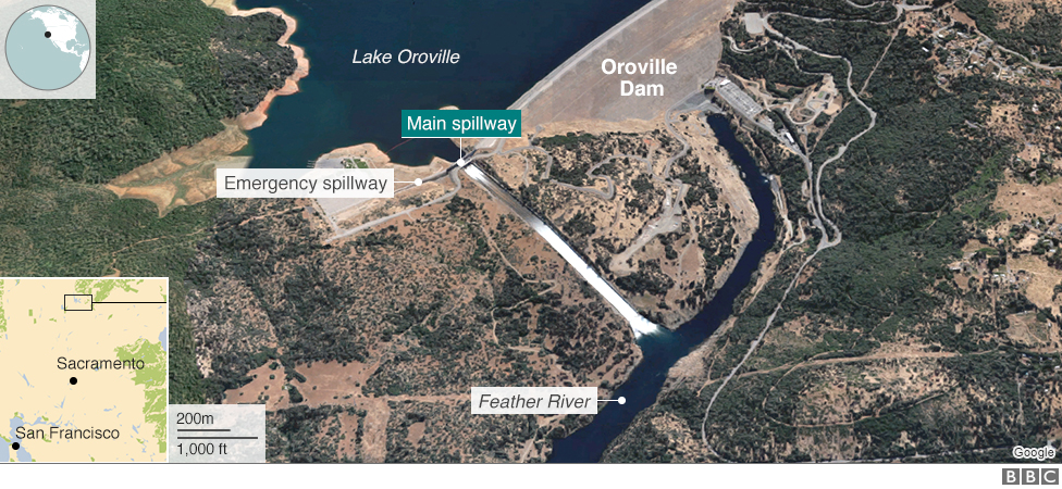 Map showing the location of the Oroville Dam