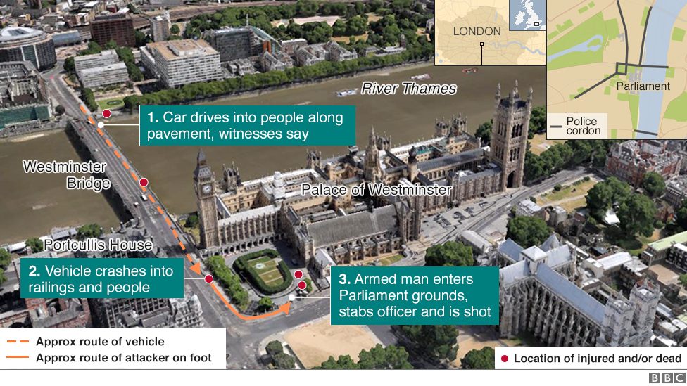 Westminster attack map