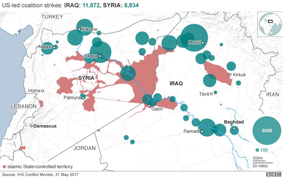 ABD liderliğindeki Irak ve Suriye'de koalisyon grevleri Haritası