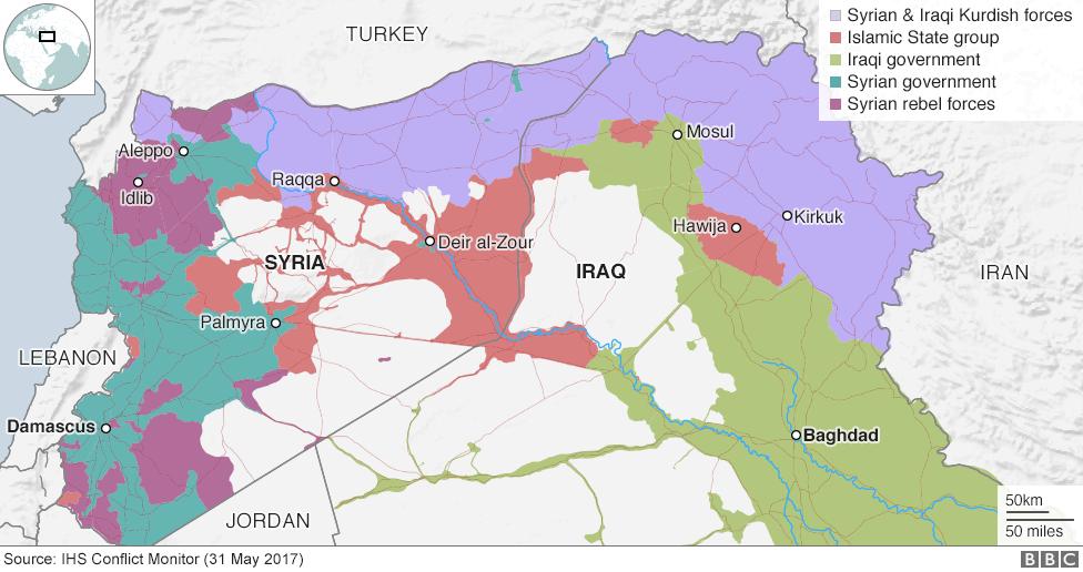 Irak ve Suriye'de toprak kontrolü haritası