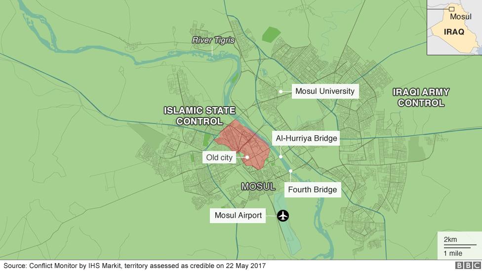 Musul'un kontrolü için savaş gösteren harita