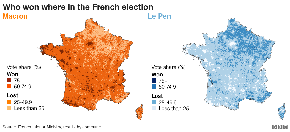 The maps that show how france voted and why bbc news maps showing emmanuel macron and marine le pen gumiabroncs Choice Image