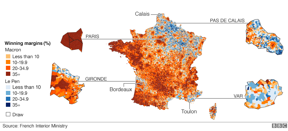 The maps that show how france voted and why bbc news map of voting pattern in france showing four areas in more detail paris pas gumiabroncs Choice Image