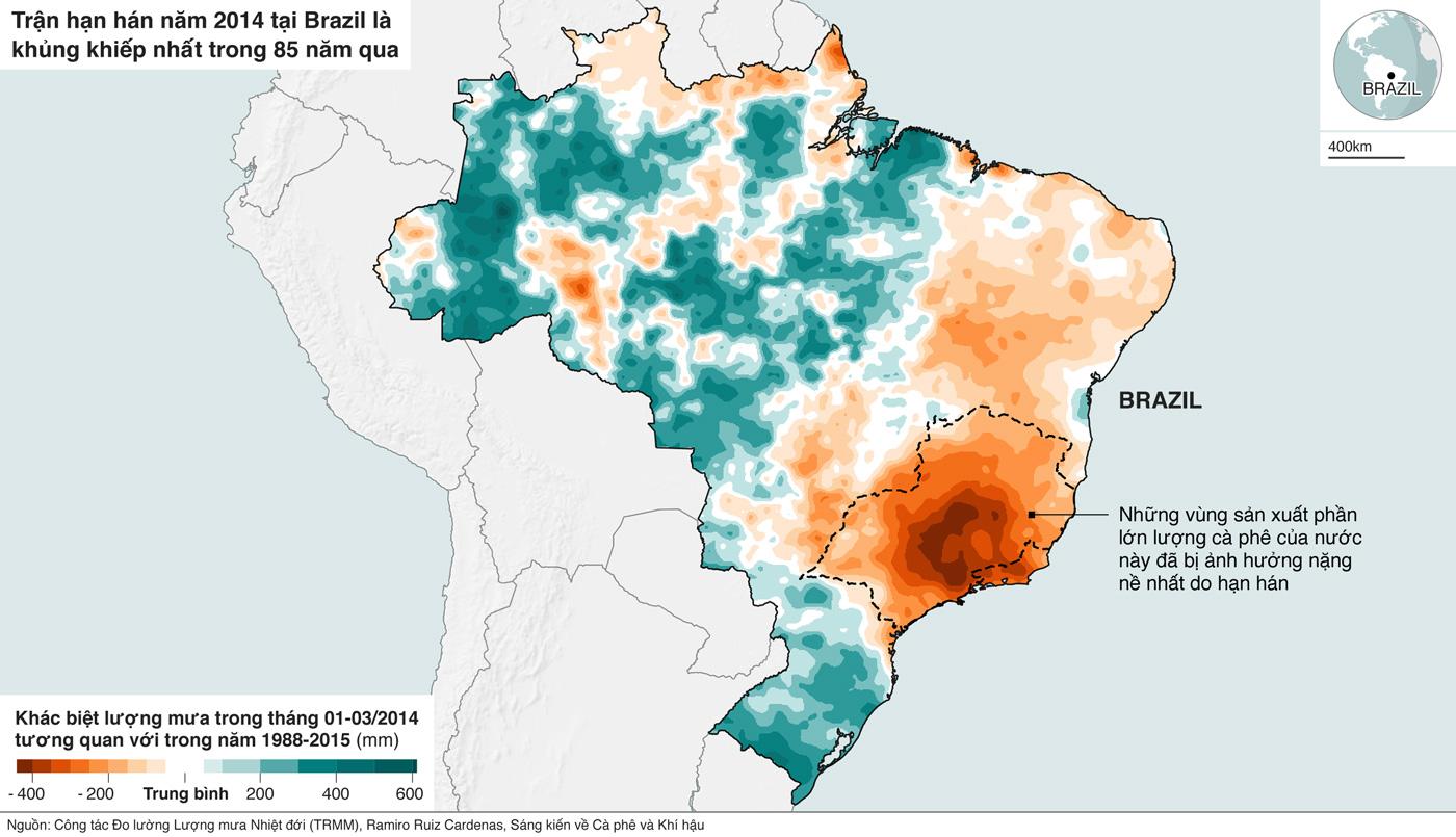 Bản đồ cho thấy ảnh hưởng của hạn hán ở Brazil đến các vùng trồng cà phê