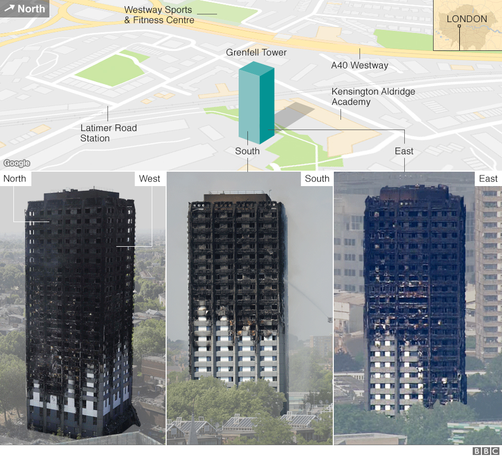 Damage To Grenfell Tower On The North South East And West Elevations