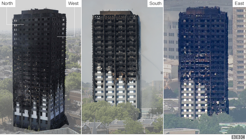 Damage To The Exterior Of Grenfell Tower