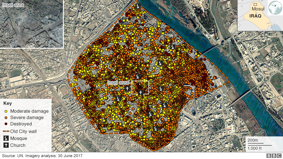 Damage to central Mosul