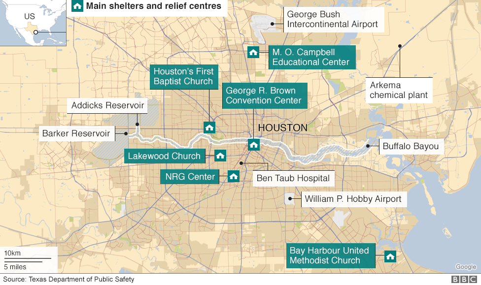 Map Showing Main Relief Centres And Key Facilities In Houston Texas