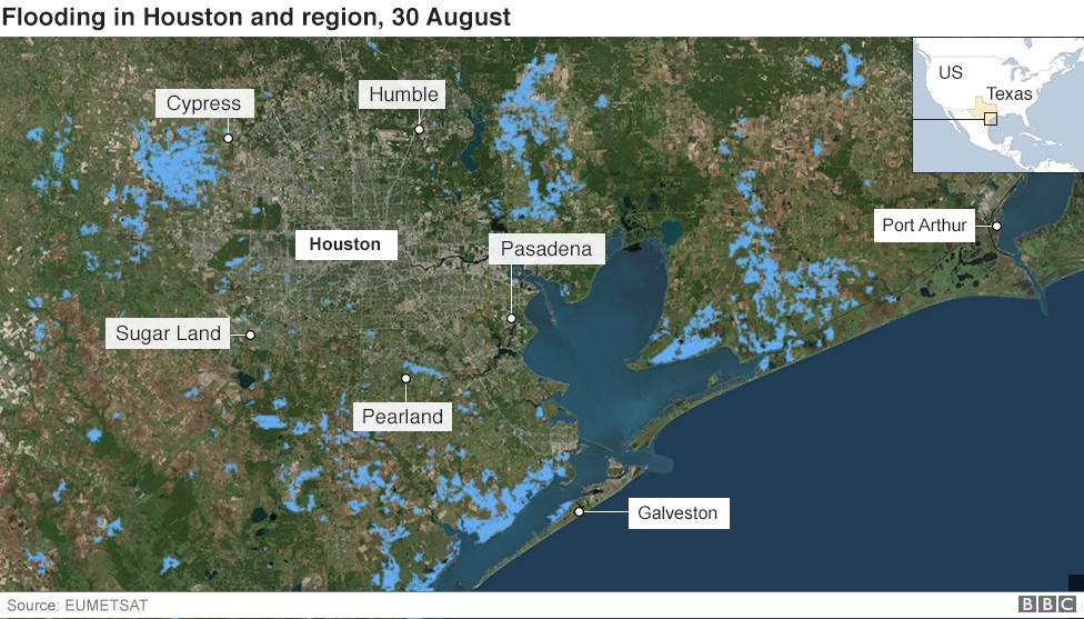 In maps houston and texas flooding bbc news satellite image showing the extent of flooding in houston and the surrounding area on 30 august sciox Images