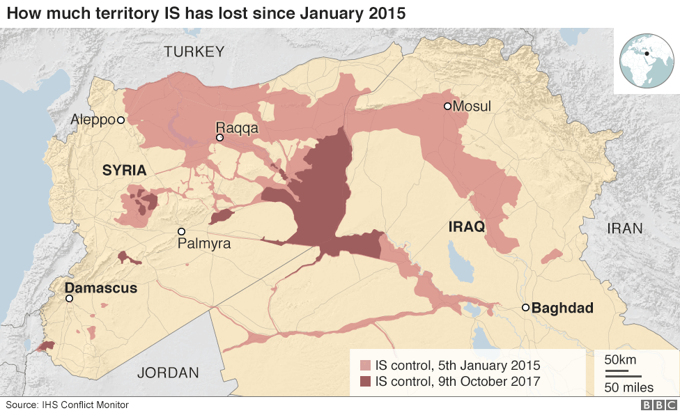 Islamic state and the crisis in iraq and syria in maps seprin map shows how much territory is has lost in iraq and syria since 2015 gumiabroncs Choice Image