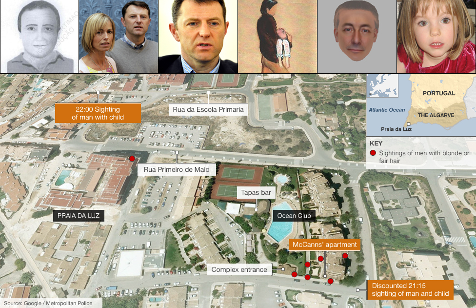 Map showing the key locations in the hunt for Madeleine McCann