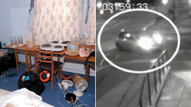 Left: An image of the interior of a room with a table and chair and various pieces of apparatus in view. Right: A security camera image timestamped at 0359:33 and showing a small car turning a corner.