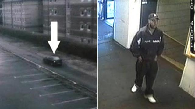 Left: Security camera image with an arrow indicating a car. Right: Security camera image showing a man on foot.
