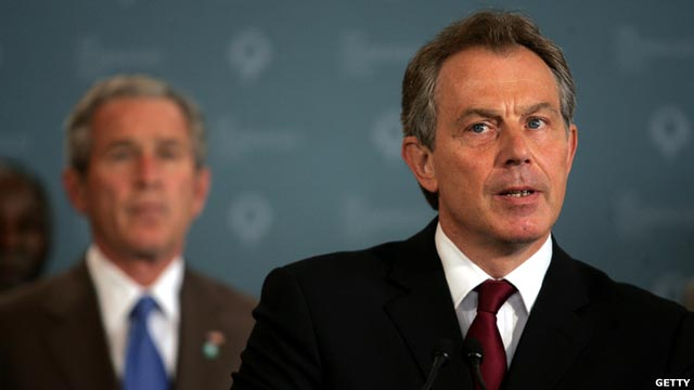 Image of Tony Blair. George W Bush is visible in the background.