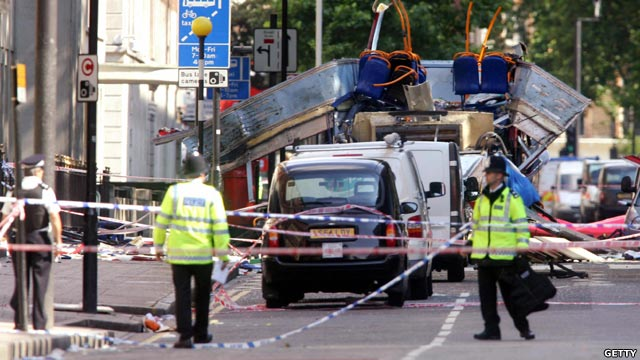 Image of police at a cordoned area around the bus wreckage