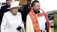 HM Queen with Dean of Llandaff during her visit with Prince Philip to Llandaff Cathedral in south Wales