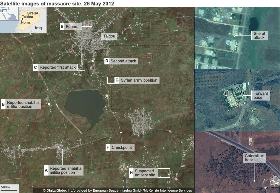 Satellite images of massacre site, 26 May 2012