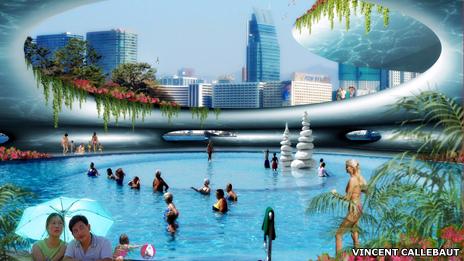 An urban swimming pool