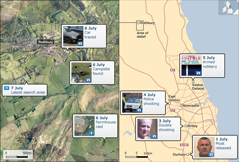 Map of events in Rothbury