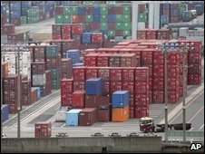 Cargo containers at port near Tokyo