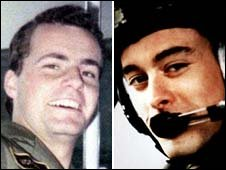 Flt Lt Richard Cook, left, and Flt Lt Jonathan Tapper