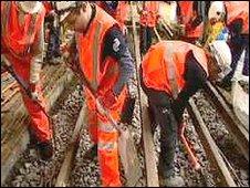 Engineering staff at work on London Underground