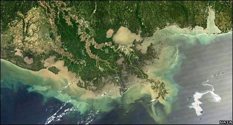 Satellite photo of coastline