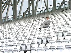 A lone fan at Durham's Riverside ground