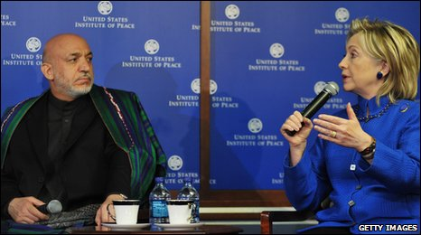 Hamid Karzai and Hilary Clinton