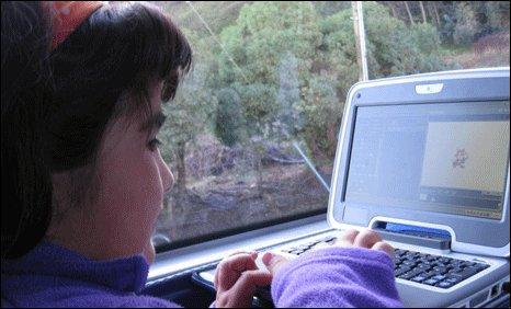Girl on the tech bus