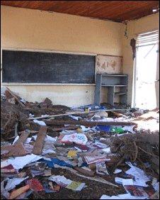 Damaged classroom