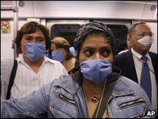 Passengers on the underground, Mexico City, April 2009