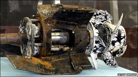Torpedo parts salvaged from the Yellow Sea shown at a South Korean Defence Ministry press conference, Seoul, 20 May 2010