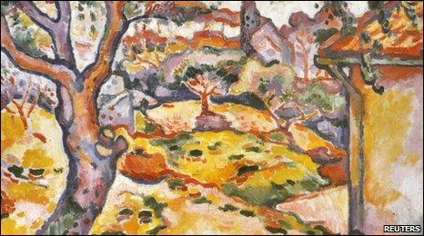 A reproduction of L'Olivier pres de l'Estaque (Olive Tree near l'Estaque) painted by Georges Braque in 1906