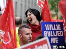 Protesting Unite members of BA's cabin crew
