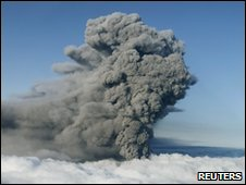 The ash plume from Iceland's Eyjafjallajokull volcano, 17 May