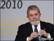 Brazilian president Luiz Inacion Lula da Silva shortly before receiving the prize of the New Economy Forum 2010 in Madrid on 18 May