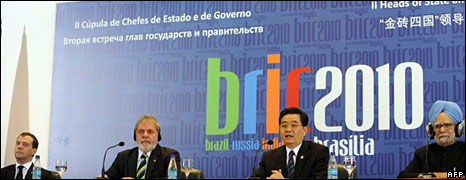 From left to right: Russia's Dmitri Medvedev, Brazil's Lula, China's Hu Jintao and India's Manmohan Singh at a Bric summit in Brasilia in April