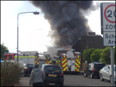 Fire crews at the fire scene, pic by John Fisher