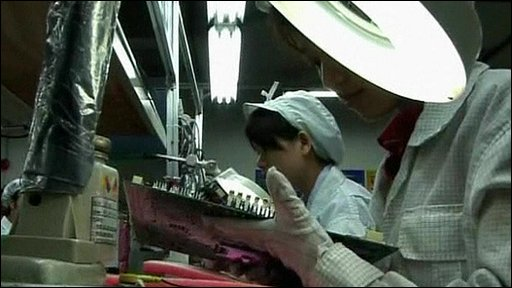 Worker at the Foxconn factory