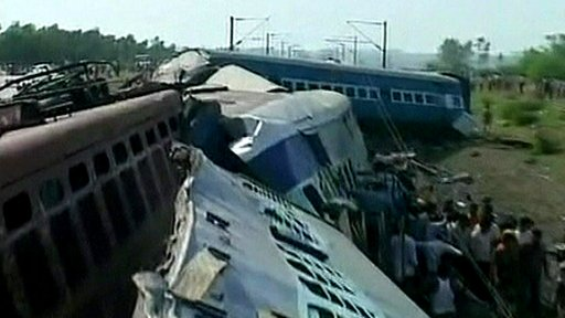 The scene of the train crash in West Bengal.