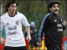 Lionel Messi (left) and Argentina coach Diego Maradona (right)