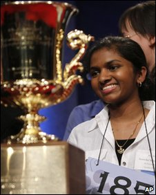 Anamika Veeramani wins the National Spelling Bee trophy, 4 June 2010