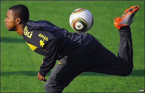 Brazil's football team striker Robinho plays with the ball during a training session in Johannesburg ahead of the Fifa 2010 World Cup