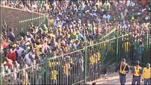 Crowd outside stadium