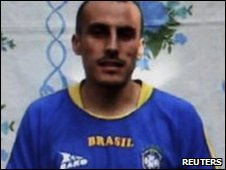 Police officer Elkin Hernandez Rivas in an undated video handed to a Colombian TV station