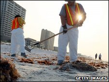 Workers clean-up oil on a beach in Pensacola, Florida