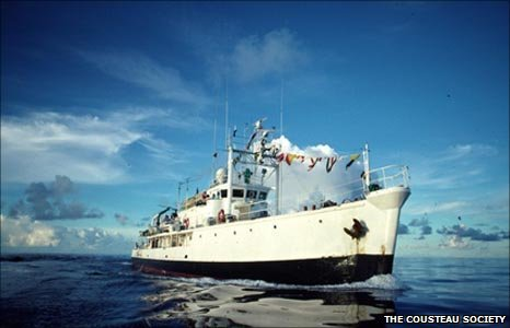 The Calypso, Jacques Cousteau's research vessel, before it was damaged in 1996