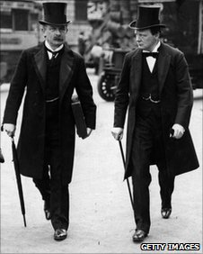 Winston Churchill with Prime Minster David Lloyd George in London in 1910