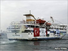 The Mavi Marmara leaving Istanbul, bound for Gaza (22 May 2010)